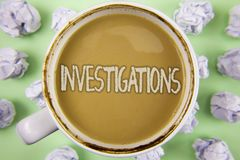 Handwriting text Investigations. Concept meaning Formal inquiry Systematic Study Examination Research Analysis written on Tea in W. Handwriting text Stock Photography