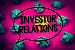 Handwriting text Investor Relations. Concept meaning Finance Investment Relationship Negotiate Shareholder Huge emerald paper lobs. Surroundes yellow paper ball royalty free stock photos