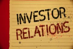 Handwriting text Investor Relations. Concept meaning Finance Investment Relationship Negotiate Shareholder Mellow yellow color pag. E written black and red royalty free illustration
