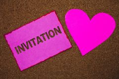 Handwriting text Invitation. Concept meaning Written or verbal request someone to go somewhere or do something Paper heart ideas m. Essages cork background love stock photography