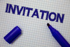 Handwriting text Invitation. Concept meaning Written or verbal request someone to go somewhere or do something Squared notebook pa. Ge ideas messages blue open stock images
