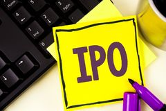 Handwriting text Ipo. Concept meaning Initial Public Offering First time stock of company is offered to public written on Sticky N. Handwriting text Ipo. Concept Royalty Free Stock Photos