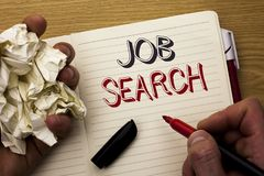 Handwriting text Job Search. Concept meaning Find Career Vacancy Opportunity Employment Recruitment Recruit written by Man on Note. Handwriting text Job Search royalty free stock photos
