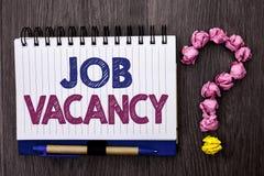 Handwriting text Job Vacancy. Concept meaning Work Career Vacant Position Hiring Employment Recruit Job written on Notebook Book o. Handwriting text Job Vacancy stock images
