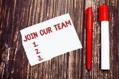 Handwriting text Join Our Team. Concept meaning invite someone for job interview enroll in community Blank Torn Index. Sized Graph Paper Two Pens for Writing on stock photo
