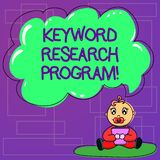 Handwriting text Keyword Research Program. Concept meaning Fundamental practice in search engine optimization Baby Sitting on Rug. With Pacifier Book and Blank royalty free illustration