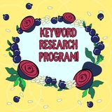 Handwriting text Keyword Research Program. Concept meaning Fundamental practice in search engine optimization Floral Wreath made. Of Tiny Seeds Small Glossy vector illustration