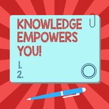 Handwriting text Knowledge Empowers You. Concept meaning To equip someone with skills and knowledge to do task Blank. Square Color Board with Magnet Click royalty free illustration