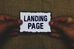 Handwriting text Landing Page. Concept meaning Website accessed by clicking a link on another web page Man holding piece paper bla
