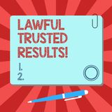 Handwriting text Lawful Trusted Results. Concept meaning Closing deal secure by legal contracts and agreement Blank. Square Color Board with Magnet Click vector illustration