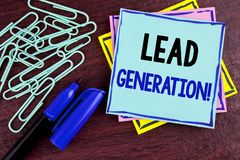 Handwriting text Lead Generation Motivational Call. Concept meaning Sales pipeline digital generating leads written on Sticky Note. Handwriting text Lead Royalty Free Stock Photo