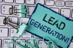 Handwriting text Lead Generation Motivational Call. Concept meaning Sales pipeline digital generating leads written on Sticky Note. Handwriting text Lead Stock Image