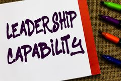 Handwriting text Leadership Capability. Concept meaning what a Leader can build Capacity to Lead Effectively Open. Notebook page jute background colorful royalty free stock images
