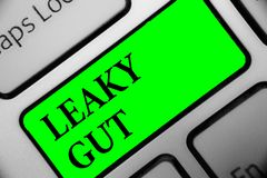 Handwriting text Leaky Gut. Concept meaning A condition in which the lining of small intestine is damaged Keyboard green key Inten