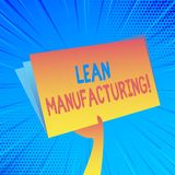 Handwriting text Lean Manufacturing. Concept meaning focus on minimizing waste within analysisufacturing systems Hand. Handwriting text Lean Manufacturing stock illustration