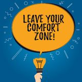 Handwriting text Leave Your Comfort Zone. Concept meaning Make changes evolve grow take new opportunities Blank Oval. Color Speech Bubble Above a Broken Bulb stock illustration