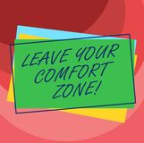 Handwriting text Leave Your Comfort Zone. Concept meaning Make changes evolve grow take new opportunities Pile of Blank. Rectangular Outlined Different Color royalty free illustration