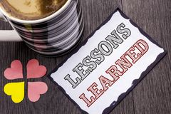 Handwriting text Lessons Learned. Concept meaning Experiences that should be taken into account in the future written on Sticky No. Handwriting text Lessons Royalty Free Stock Image