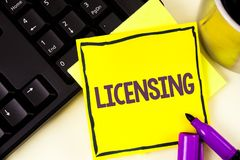 Handwriting text Licensing. Concept meaning Grant a license Legally permit the use of something Allow activity written on Sticky N. Handwriting text Licensing stock images