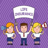 Handwriting text life insurance. Concept meaning payment of death benefit or injury burial or medical claim people with. Handwriting text life insurance vector illustration