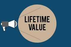 Handwriting text Lifetime Value. Concept meaning Worth of the customer over the lifetime of the business.  royalty free illustration