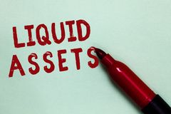 Handwriting text Liquid Assets. Concept meaning Cash and Bank Balances Market Liquidity Deferred Stock Open red marker intention c. Ommunicating message ideas royalty free stock photography