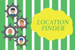 Handwriting text Location Finder. Concept meaning A service featured to find the address of a selected place Gearshaped. Handwriting text Location Finder royalty free illustration