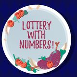 Handwriting text Lottery With Numbers. Concept meaning game of chance in which showing buy numbered tickets Hand Drawn. Lamb Chops Herb Spice Cherry Tomatoes on stock illustration