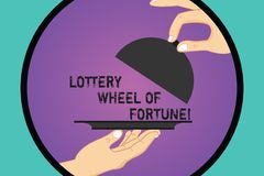 Handwriting text Lottery Wheel Of Fortune. Concept meaning Chances good luck gambling addiction gambler Hu analysis. Hands Serving Tray Platter and Lifting the vector illustration