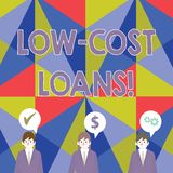 Handwriting text Low Cost Loans. Concept meaning loan that has an interest rate below twelve percent Businessmen Each vector illustration