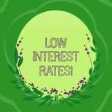 Handwriting text Low Interest Rates. Concept meaning meant to stimulate economic growth making it cheaper Blank Color Oval Shape. With Leaves and Buds as Border royalty free illustration