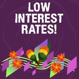 Handwriting text Low Interest Rates. Concept meaning meant to stimulate economic growth making it cheaper Colorful Instrument. Maracas Handmade Flowers and vector illustration