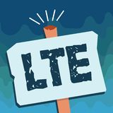 Handwriting text Lte. Concept meaning A 4G mobile communications standard Improving wireless broadband speeds.  vector illustration