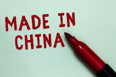 Handwriting text Made In China. Concept meaning Wholesale Industry Marketplace Global Trade Asian Commerce Open red marker intenti. On communicating message stock photo