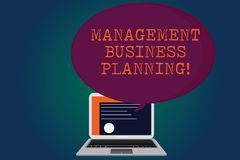 Handwriting text Management Business Planning. Concept meaning Focusing on steps to make business succeed Certificate. Layout on Laptop Screen and Blank stock illustration