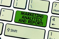 Handwriting text Marketing Analytics And Report. Concept meaning Advertising promotional campaign strategies Keyboard. Key Intention to create computer message royalty free stock photo