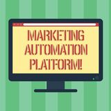 Handwriting text Marketing Automation Platform. Concept meaning automate repetitive task related to marketing Blank. Computer Desktop Monitor Color Screen royalty free illustration