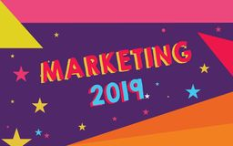 Handwriting text Marketing 2019. Concept meaning Commercial trends for 2019 New Year promotional event.  royalty free illustration