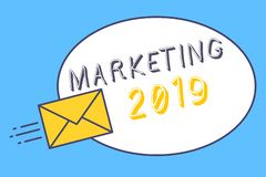 Handwriting text Marketing 2019. Concept meaning Commercial trends for 2019 New Year promotional event.  stock illustration