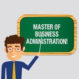 Handwriting text Master Of Business Administration. Concept meaning Post graduate education finances Man Standing royalty free stock images
