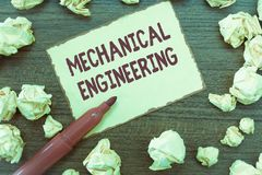 Handwriting text Mechanical Engineering. Concept meaning deals with Design Manufacture Use of Machines.  stock images