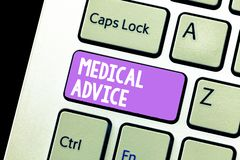 Handwriting text Medical Advice. Concept meaning Guidance from a healthcare expert about a demonstrating s is health.  stock image
