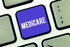 Handwriting text Medicare. Concept meaning federal government plan in us for paying certain hospital stock image