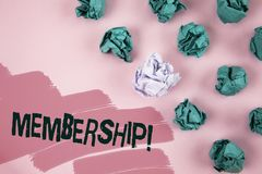 Handwriting text Membership. Concept meaning Being member Part of a group or team Join organization company written on Painted Pin. Handwriting text Membership Royalty Free Stock Image