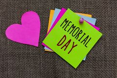 Handwriting text Memorial Day. Concept meaning To honor and remembering those who died in military service Paper notes Important r royalty free stock photography