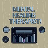 Handwriting text Mental Healing Therapist. Concept meaning Counseling or treating clients with mental disorder Digital Combination. Of Column Line Data Graphic royalty free illustration
