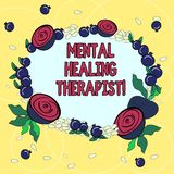 Handwriting text Mental Healing Therapist. Concept meaning Counseling or treating clients with mental disorder Floral Wreath made. Of Tiny Seeds Small Glossy stock illustration