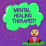 Handwriting text Mental Healing Therapist. Concept meaning Counseling or treating clients with mental disorder Baby. Sitting on Rug with Pacifier Book and Blank royalty free illustration
