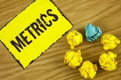 Handwriting text Metrics. Concept meaning Method of measuring something Study poetic meters Set of numbers written on Sticky Note. Handwriting text Metrics Stock Photos