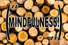 Handwriting text Mindfulness. Concept meaning Being Conscious Awareness Calm Accept thoughts and feelings Wooden background. Vintage wood wild message ideas stock image